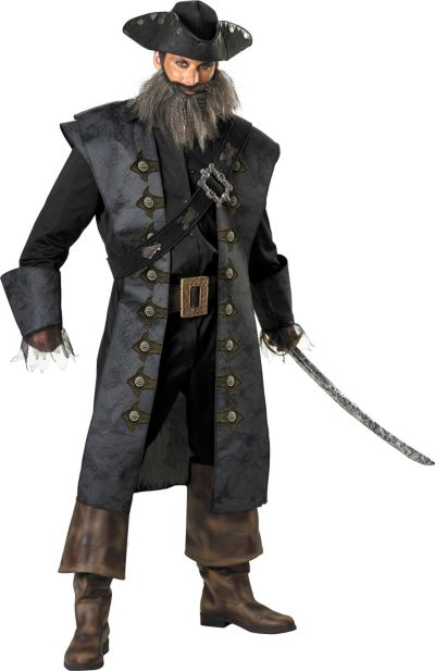 Adult Blackbeard Costume Deluxe Plus Size - Pirates of the Caribbean