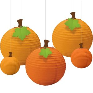 Fall Pumpkin Paper Lanterns 5ct