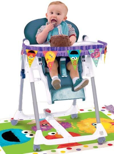 1st Birthday Sesame Street High Chair Decorating Kit 2pc