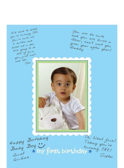 Blue 1st Birthday Autograph Photo Frame