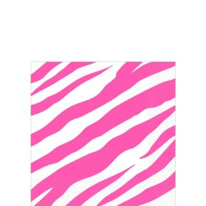 Bright Pink Zebra Print Beverage Napkins 16ct