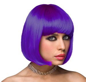 Neon Purple Bob Wig with Bangs