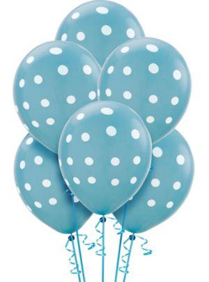 Caribbean Blue Polka Dot Balloons 6ct