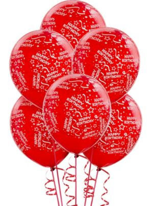 Red Birthday Balloons 6ct - Confetti