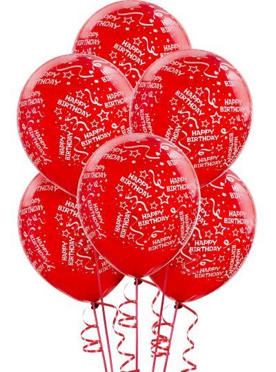 Red Birthday Balloons 6ct - Confetti