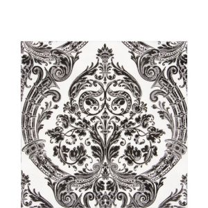 White & Black Grandeur Lunch Napkins 20ct