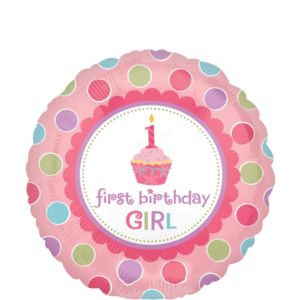 1st Birthday Balloon - Li'l Cupcake Girl