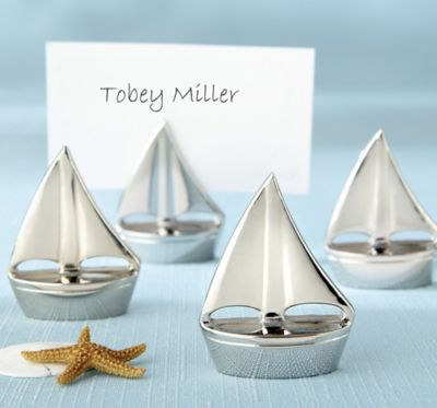 Silver Sailboat Place Card Holder
