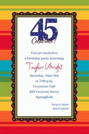Custom A Year to Celebrate 45th Invitations