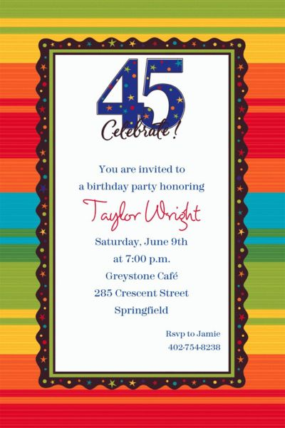A Year to Celebrate 45 Custom Invitation