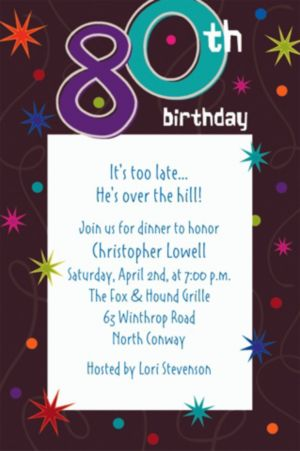 Custom The Party Continues 80th Invitations