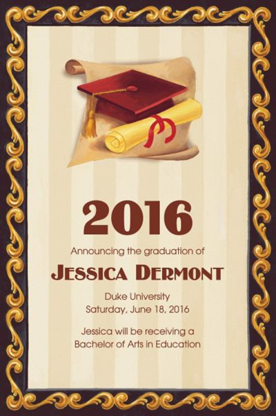 Red Grad Portrait Custom Graduation Announcement