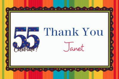 Custom A Year to Celebrate 55th Thank You Notes
