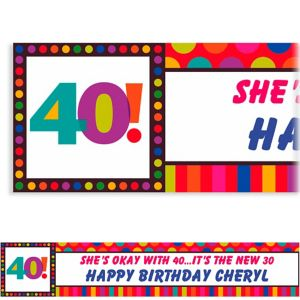 Custom Birthday Dots & Stripes 40th Birthday Banner 6ft
