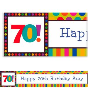 Custom Birthday Dots & Stripes 70th Banner 6ft