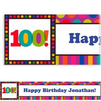 Birthday Dots & Stripes 100 Custom Banner 6ft