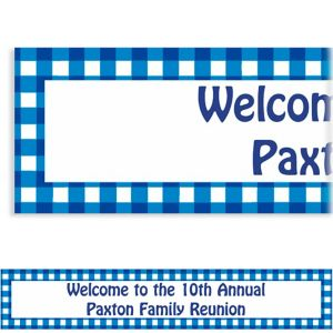 Custom American Summer Blue Gingham Banner 6ft