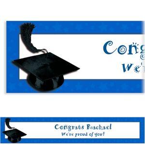 Custom Royal Blue Congrats Grad Banner 6ft