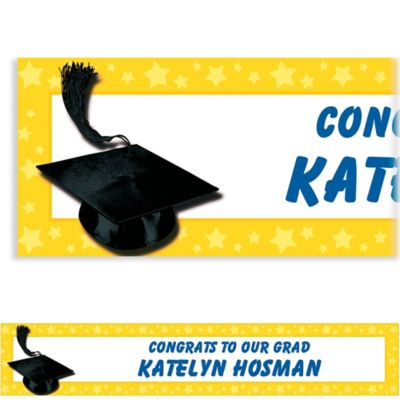 Yellow Congrats Grad Custom Graduation Banner