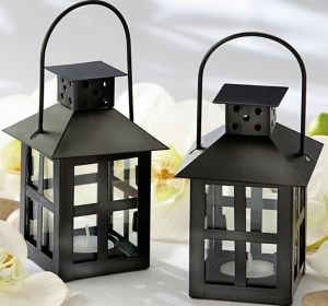 Mini Black Lantern Tealight Candle Holder