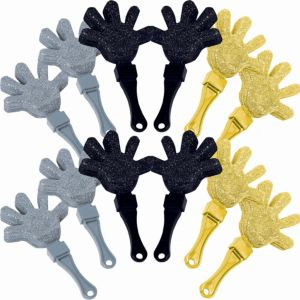 Glitter Black, Gold & Silver Hand Clappers 12ct
