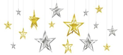 Gold & Silver Stars New Year's Star Decorations 16ct