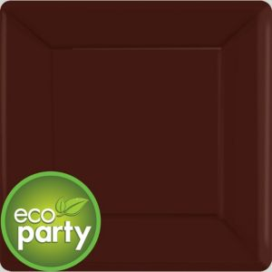 Eco Friendly Chocolate Brown Paper Square Dinner Plates 20ct