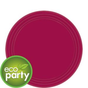 Eco Friendly Raspberry Round Paper Dessert Plates 24ct