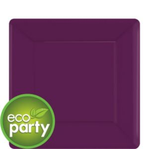 Eco-Friendly Plum Paper Square Dessert Plates 20ct