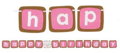 Pink Sweet at One 1st Birthday Banner