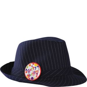 Pinstripe Happy Birthday Fedora
