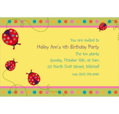 Custom Lady Bug Invitations