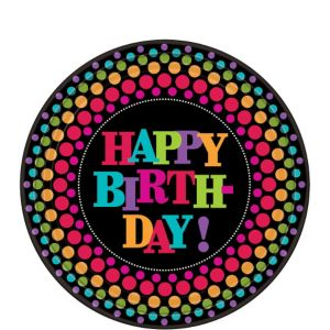 Happy Birthday Dessert Plates 8ct - Rainbow Dot