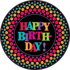 Happy Birthday Dinner Plates 8ct - Rainbow Dot