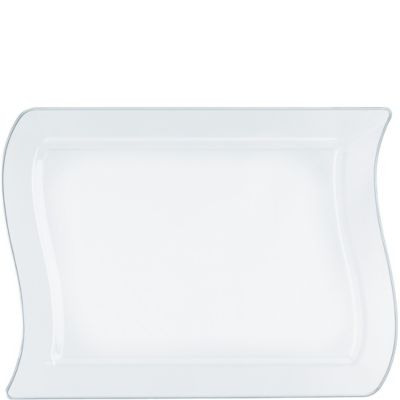 CLEAR Premium Plastic Wavy Rectangular Lunch Plates 10ct