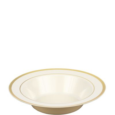 Cream Gold Trimmed Premium Plastic Bowls 10ct
