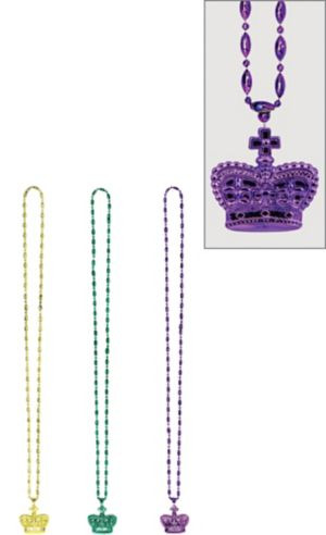 Mardi Gras Beads with Crown Pendant 3ct