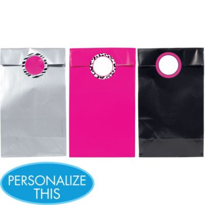 Zebra Party Personalize It Gift Bags with Stickers 12ct