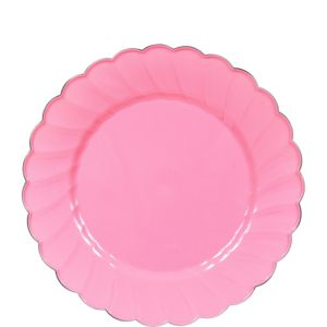 Pink Scalloped Plastic Dessert Plates 20ct