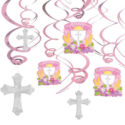 Girl's First Communion Hanging Swirl Decorations 12ct