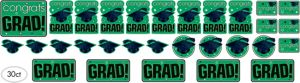Green Graduation Cutouts 30ct