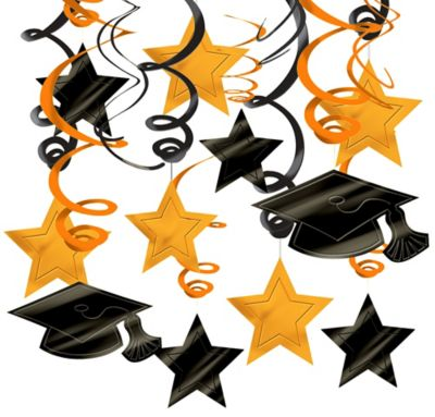 Orange Graduation Swirl Decorations 30ct