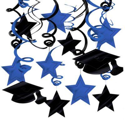 Blue Graduation Swirl Decorations 30ct