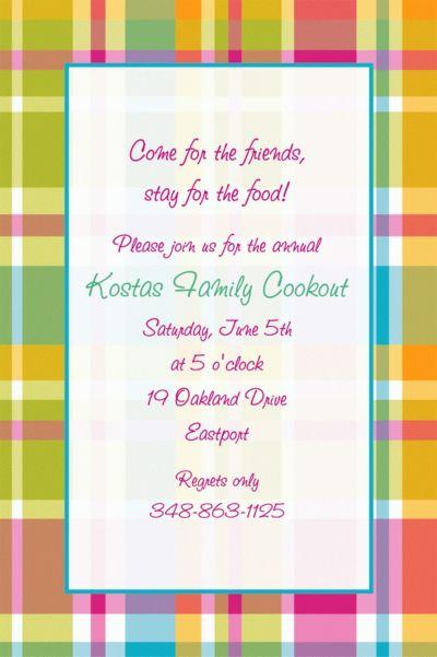 Summer Plaid Custom Invitation