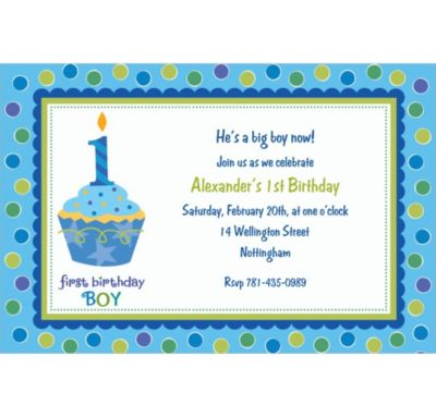 Custom Sweet Little Cupcake Boy Invitations
