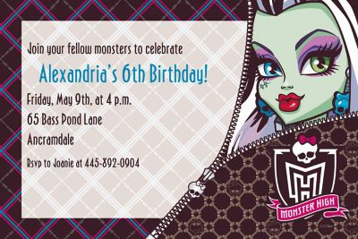 Custom Monster High Invitations