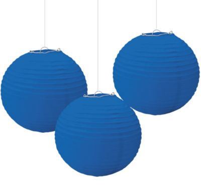 Royal Blue Paper Lanterns 9 1/2in 3ct