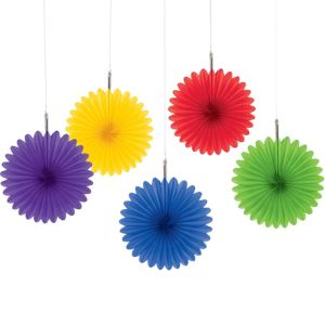 Rainbow Mini Paper Fan Decorations 5ct
