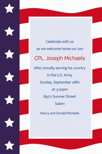 Custom All American Welcome Home Invitations