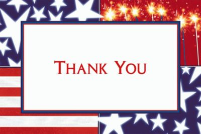 Star Spangled Banner Welcome Home Custom Thank You Note